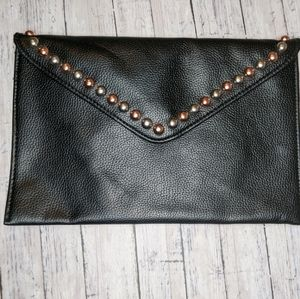 B-low the belt black envelope clutch purse NWT